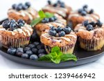 homemade blueberry muffins made ... | Shutterstock . vector #1239466942