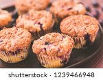 homemade blueberry muffins made ... | Shutterstock . vector #1239466948