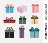 vector set of cute gift boxes.... | Shutterstock .eps vector #1239500365