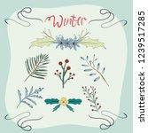 winter floral element. hand... | Shutterstock .eps vector #1239517285