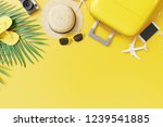 flat lay yellow suitcase with... | Shutterstock . vector #1239541885