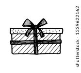 hand drawn gift box or present. ... | Shutterstock .eps vector #1239622162