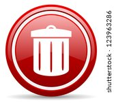 red glossy circle web icon on... | Shutterstock . vector #123963286