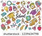 hand drawn set of school...
