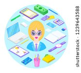 blondy businesswoman and office ... | Shutterstock .eps vector #1239643588