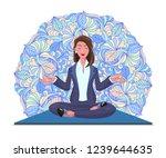 businesswoman meditates sitting ... | Shutterstock .eps vector #1239644635