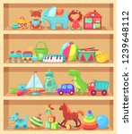 cartoon toys on wood shelves.... | Shutterstock . vector #1239648112