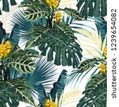 tropical exotic floral green... | Shutterstock .eps vector #1239654082