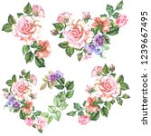 set of roses bouquets.watercolor | Shutterstock . vector #1239667495