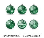 set of 3d christmas balls with... | Shutterstock .eps vector #1239673015