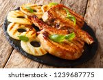fresh grilled pork chop steak... | Shutterstock . vector #1239687775
