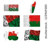 madagascar flag and map in... | Shutterstock . vector #123969385
