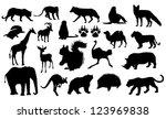 Stock vector wild animals silhouettes 123969838