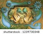 3d wallpaper  golden marble...   Shutterstock . vector #1239730348