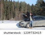 broken car and a man in the... | Shutterstock . vector #1239732415