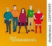 group of simple superheroes.   Shutterstock .eps vector #1239745495