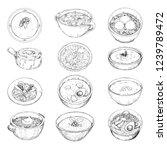 set of different soups. vector... | Shutterstock .eps vector #1239789472