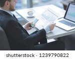 close up of manager working... | Shutterstock . vector #1239790822
