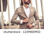 portrait of sexy handsome... | Shutterstock . vector #1239800902