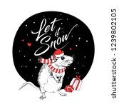 little mouse in a red santa's...   Shutterstock .eps vector #1239802105
