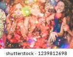 happy friends making party... | Shutterstock . vector #1239812698