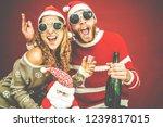 crazy happy couple celebrating... | Shutterstock . vector #1239817015