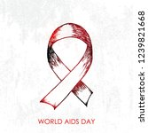 hand drawn of aids awareness on ... | Shutterstock .eps vector #1239821668