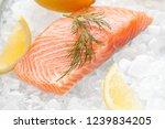Fresh Salmon Filet On Ice With...