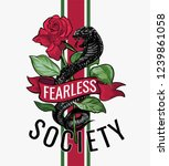 fearless slogan with black... | Shutterstock .eps vector #1239861058