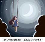 girl swing moon | Shutterstock .eps vector #1239894955