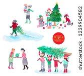 watercolor people celebrate... | Shutterstock . vector #1239904582