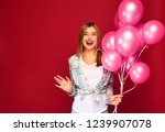 excited young girl posing in... | Shutterstock . vector #1239907078