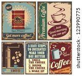 vintage coffee posters and... | Shutterstock .eps vector #123990775