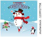 vintage christmas poster design ... | Shutterstock .eps vector #1239917758