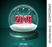 2019 snow globe on green... | Shutterstock .eps vector #1239923065