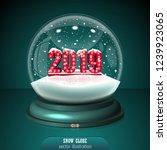 2019 snow globe on green... | Shutterstock .eps vector #1239923065