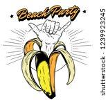 beach party. vector hand drawn...   Shutterstock .eps vector #1239923245