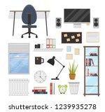 big set of workspace flat... | Shutterstock .eps vector #1239935278