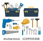 big set of building tools... | Shutterstock .eps vector #1239935308