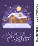 snowy purple winter village... | Shutterstock .eps vector #1239959032