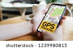 gps tracking map on smartphone... | Shutterstock . vector #1239980815