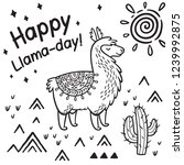 happy llama day. ink cartoon... | Shutterstock .eps vector #1239992875