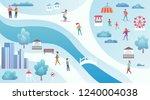 winter city park top view map... | Shutterstock .eps vector #1240004038