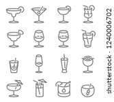 cocktail vector line icons.... | Shutterstock .eps vector #1240006702