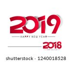 happy new year2018  2019 text... | Shutterstock .eps vector #1240018528