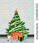 christmas tree on white holiday ... | Shutterstock .eps vector #1240030102