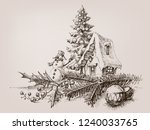 christmas ornaments  various... | Shutterstock .eps vector #1240033765