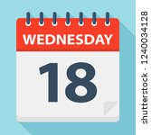 wednesday 18   calendar icon  ... | Shutterstock .eps vector #1240034128