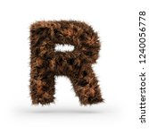 Uppercase fluffy and furry font made of fur texture for poster printing, branding, advertising. Letter R. 3D rendering