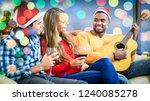 multiracial friends celebrating ...   Shutterstock . vector #1240085278